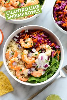 Healthy Dinner Ideas Easy To Make : Illustration Description Eat the rainbow with these delicious Cilantro Lime Shrimp Bowls made with fresh shrimp, brown rice, cabbage slaw, and a homemade Greek yogurt dressing! -Read More – Healthy Food List, Healthy Dinner Recipes, Healthy Eating, Healthy Habits, Easy Recipes, Slow Cooking, Cooking Recipes, Homemade Greek Yogurt, Quinoa