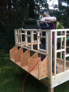 Nice chronological photos of the building process of this Hen House. A review could make any project go easier! #HenHouse www.FreeHenHousePlans.weebly.com