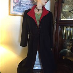 Vtg: wool long coat Black wool long coat , four buttons down and belt.With red combination collar .Good condition looks as new, smoke free odor.free red hat. Collection Elegante Other