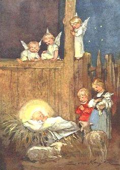 Erica Von Kager Merry Christmas Card, Christmas Scenes, Christmas Nativity, Christmas Books, Vintage Christmas Cards, Retro Christmas, Christmas Baby, Christmas Angels, Xmas Cards