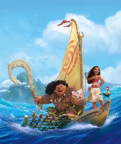 Princess Moana, DemiGod Maui, Pua (little pig) and Heihei (chicken) Moana Disney, Walt Disney, Disney Magic, Disney Art, Disney And More, Disney Love, Disney Animation, Disney And Dreamworks, Disney Pixar