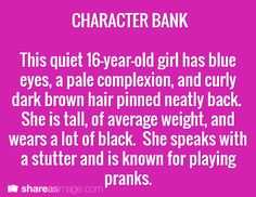 Character bank (change age to ten and you have Zara) Writing Boards, Writing Help, Writing A Book, Writing Tips, Fiction Writing, Character Prompts, Writing Characters, Character Ideas, Character Design
