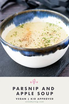 This delicious parsnip and apple soup is the perfect combination of sweet parsnips and tart cooking apples. The creaminess comes from the blended parsnips. There is no actual cream involved and this delicious seasonal soup is suitable for vegans. Canned Corn Recipes, Pasta Recipes, Appetizer Recipes, Soup Recipes, Xmas Recipes, Kid Recipes, Muffin Recipes, Family Recipes, Recipies
