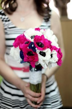 www.facebook.com/PaperFlowersBySimona Anemone Wedding, Wedding Bouquets, White Anemone, Color Pop, Colour, Wedding Decorations, Wedding Ideas, Happily Ever After, Bright Pink