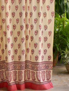 Genial India Rose (CP) ~ Luxury Pink Floral Indian Sari Print Curtain