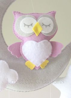 Baby mobile Owl mobile Crib Mobile Owl by GiseleBlakerDesigns