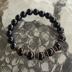 8mm Black Onyx Wrist Mala Beads Healing by AWAKENYOURKUNDALINI