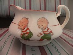HOMER LAUGHLIN Creamer Antique Vintage 2 Boys Playing 8 5 N