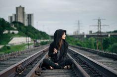 Girl, Railway, Tracks, Life, Beauty, Hipster, Sitting, Waiting, Asian, Chinese, Japanese, Background, Photography