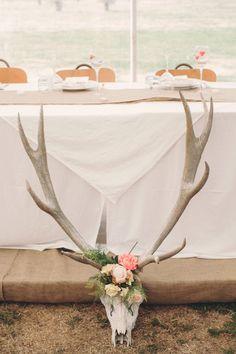 floral antlers rustic wedding