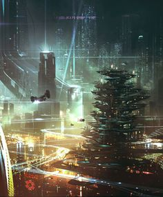 Cyberpunk Atmosphere, Neo-Noir, Dark Future, Futuristic Architecture, Cyber City, Future City, Neo Seoul by George Hull