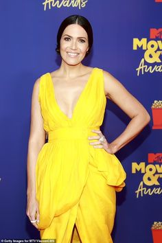 Mandy Moore dons yellow dress at MTV Movie & TV Awards, three months after giving birth | Daily Mail Online Dandelion Yellow, Tv Awards, Mandy Moore, Yellow Dress, Mtv, Movie Tv, Mail Online, Daily Mail, Birth