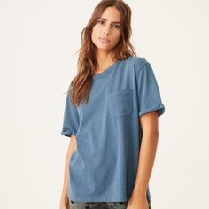 Vintage inspired oversized crew neck pocket tee in our cotton jersey fabric Cotton Machine wash cold, tumble dry low Modeled in a size S Model measurements: Height: 5 ft. 9 in., Bust: 32 in. S Models, Vintage Tees, Vintage Inspired, Crew Neck, Pocket, Casual, Fabric, Cotton, Collection