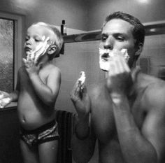 """Father & Son - get one of those baby """"razors"""" that come in spiderman shaving kits, lol  #daddy"""
