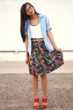 jean shirt and floral skirt