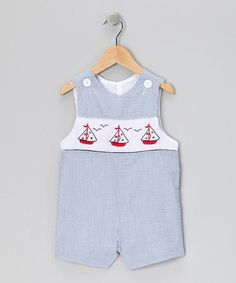 Take a look at this Blue Sailboat Seersucker John Johns - Infant & Toddler by Lollypop Kids Clothing & Wish Upon a Star on #zulily today!