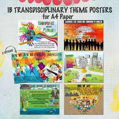 IB Transdisciplinary Theme Posters for A4 Paper from Celebrate Learning Designs on TeachersNotebook.com (9 pages)
