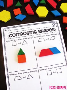 Composing Shapes is such a fun topic in first grade and kindergarten geometry! Learning how to compose and shapes is fun because, well. First Grade Activities, 1st Grade Math, Math Activities, Grade 1, Math Worksheets, Austin Activities, Math Resources, Teaching Shapes, Teaching Math