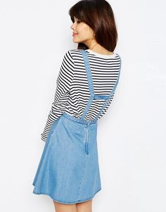 ASOS | ASOS Denim Flippy Skirt with Braces at ASOS