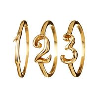 """Personal and poignant, our fine jewelry line draws inspiration from Victorian symbolism. CODE rings stack beautifully and are great markers of life's important moments - birth dates, anniversaries, and lucky numbers become treasured mementos. .14K yellow gold, number measures 3/8"""", ring sizing available.*PLEASE NOTE* All CODE orders are made to order. Please allow 3-4 weeks for shipping.Print ring size guidehere*Make sure to uncheck """"fit to page"""" to ensure accurate sizing"""