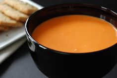 Red Pepper Bisque with Parmesan Shortbread with Fennel and Sea Salt