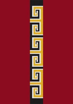 Black and Gold Thin Bracelet Bead Pattern Loom Stitch