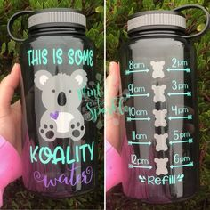 This This is some KOALITY water motivational water bottle with hourly time tracker is just one of the custom, handmade pieces you'll find in our water bottles shops. Water Bottle Tracker, Cute Water Bottles, Decorated Water Bottles, Water Bottle Crafts, Food Storage Boxes, Bottle Shop, Water Bottle Design, Glitter Vinyl, Wedding Catering