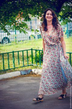 """Купить Платье из шифона с запахом """"Малена"""" - разноцветный, цветочный, платье летнее, платье с запахом"""