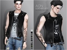 Aon male leather vest for The Sims 4
