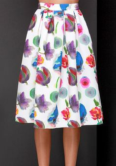 942d833f5a White Floral Pleated Knee Length Fashion Dacron Skirt Women's Summer  Fashion, Fashion Wear, Womens