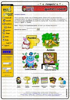 The original Neopets layout: games