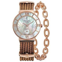 Charriol St. Tropez 30mm Steel Bronze Watch ($2,120) ❤ liked on Polyvore featuring jewelry, watches, accessories, bronze, charm jewelry, bronze watches, bronze jewelry, round watches and charriol watches