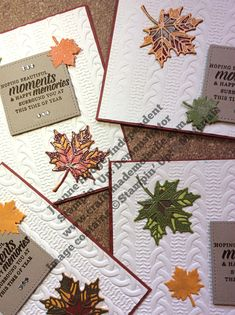 Stampin Up Autumn leaves cards with Seasonal Layers framelits leaves Timeless Tidings sentiment and Cable knit embossing folder background Autumn Trees, Autumn Leaves, Leaf Cards, Thanksgiving Cards, Diy Cards, Handmade Cards, Fall Cards, Embossing Folder, Stampin Up Cards