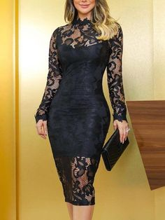 Hollow Out Lace Insert Bodycon Dress black dress near me Sexy Dresses, Cute Dresses, Beautiful Dresses, Dress Outfits, Evening Dresses, Fashion Dresses, Prom Dresses, Women's Fashion, Hipster Fashion