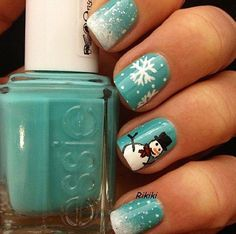 Winter nails with snowflakes and snowman  #Winter #Snowflakes #Snowman #Holiday #Nails #Manicure