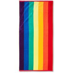 Pride Rainbow Beach Towel ($20) ❤ liked on Polyvore featuring home, bed & bath, bath, beach towels, room essentials and rainbow beach towel