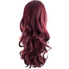 Eva Long Loose Curls Half-Head Wig In #118 Burgundy ($32) ❤ liked on Polyvore featuring beauty products, haircare, hair styling tools and hair