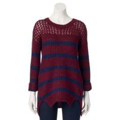 Juniors' JJ Always Crochet Stripe Sweater