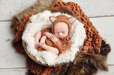 Newborn prop outfit Newborn knit fox bonnet and onesie Long sleeves onesie Newborn photo prop set Newborn photography Legless romper set