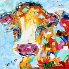 Original oil painting ABSTRACT MODERN COW by Karensfineart