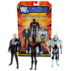 Mattel Year 2008 DC Universe Justice League Unlimited JLU Fan Collection 3 Pack 4-1/2 Inch Tall Figure - BRUCE WAYNE, BATMAN BEYOND and WARHAWK