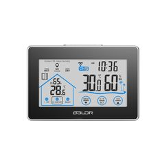 Baldr LCD Weather Station Touch Indoor Outdoor Temperature Humidity Meter Wireless Sensor Hygrometer Clock Digital Thermometer