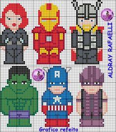 Avengers perler bead pattern - Drayzinha--change to cross stitch Pearler Bead Patterns, Perler Patterns, Cross Stitch Charts, Cross Stitch Patterns, Cross Stitching, Cross Stitch Embroidery, Pixel Art, Pixel Crochet, Hama Beads Design