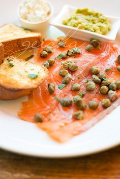 smoked salmon with capers, goats fetta, avocado & house made brioche... by ~ geisha