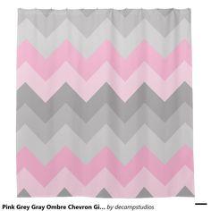 Grey Gray Ombre Chevron Zigzag Pattern Bath Set For Girls Bathroom