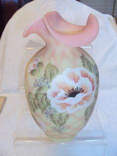 "Fenton Burmese Limited Edition 10"" H/P Diamond Lace Vase"