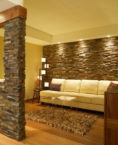 10 Whole Hacks: Living Room Remodel Ideas Diy living room remodel ideas toilets.Small Living Room Remodel Tips small living room remodel guest bedrooms.Small Living Room Remodel Tips. Cheap Basement Remodel, Basement Remodeling, Basement Plans, Walkout Basement, Stone Wall Living Room, Home Interior Design, Interior Decorating, Stacked Stone Walls, Stone Accent Walls