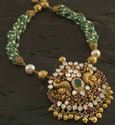 Jewellery Designs: Peacock Pendant with Semi Precious Beads Pendant Jewelry, Beaded Jewelry, Beaded Necklace, Pendant Set, Jewelry Necklaces, Pendant Necklace, India Jewelry, Temple Jewellery, Diamond Pendant
