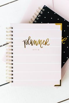 Plan your daily tasks, remember birthdays and holidays, and see your monthly schedule at a glance all while being motivated by the hand lettered quotes. These are the perfect gift for the busy boss lady in your life! Haley Modern Family, Day Designer Planner, Diy Notebook Cover, School Accessories, Locker Accessories, Cool School Supplies, Stationary School, Cool Notebooks, Journals