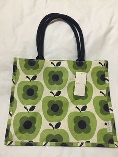 c55bee35f7d2 Orla Kiely Apple Abacus Flower Tote Bag Tesco 2016 Shadow White Gift Green  Jute  OrlaKiely